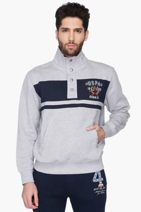 U.S. POLO ASSN. DENIM Mens Stripe High Neck Sweatshirt