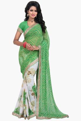 Women Chiffon Half & Half Bandhani Floral Lace Printed Saree
