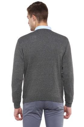 Mens V Neck Slub Knitted Pullover