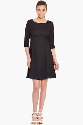 Womens Slim Fit Solid Dress