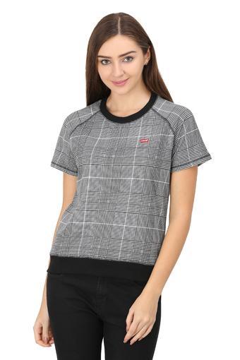Womens Round Neck Checked T-Shirt