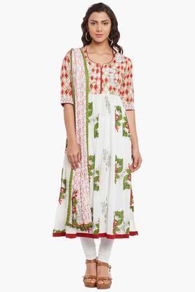 BIBAWomens Cotton Anarkali Suit Set