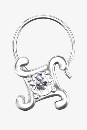 VELVETCASE Womens 18 Karat White Gold Nose Ring (Free Diamond Pendant) - 201065055