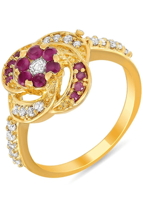 MAHI Mahi Gold Plated Terrific Ring With Ruby And CZ Stones For Women FR1100300G