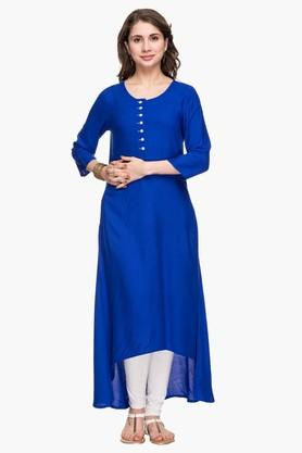 STOP Womens Round Neck Solid High Low Kurta