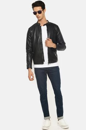 Mens Band Collar Solid Bikers Jacket