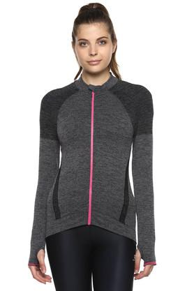 Womens Zip Through Neck Slub Jacket