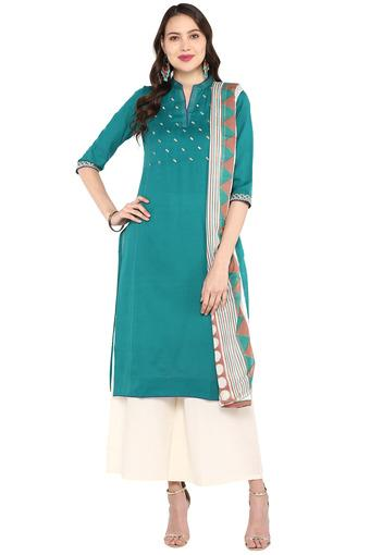 STOP -  Teal Salwar & Churidar Suits - Main