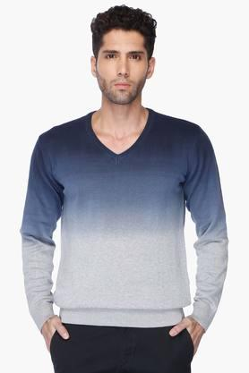 INDIAN TERRAIN Mens V Neck Colour Block Pullover (Jumper Fit)