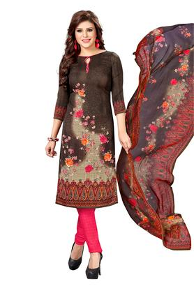 Womens Unstitched A-Line Fit Key Hole Neck Floral Printed Churidar Suit