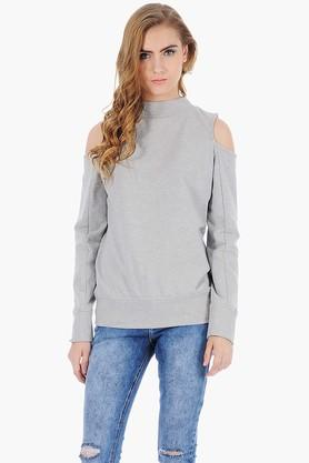 FABALLEY Womens High Neck Cold Shoulder Slub Sweater