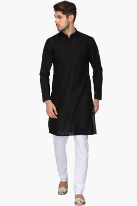 Mens Mandarin Neck Solid Kurta