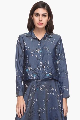 Womens Collared Printed Crop Shirt