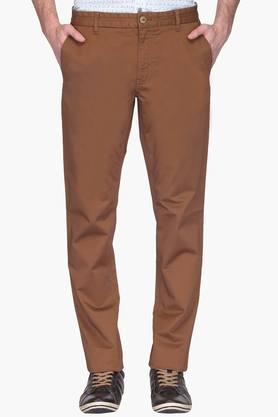 Mens Slim Fit 4 Pocket Solid Trousers ( Steven Tapered Fit)
