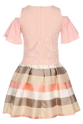 Girls Round Neck Lace Yoke Top and Pleated Skirt Set