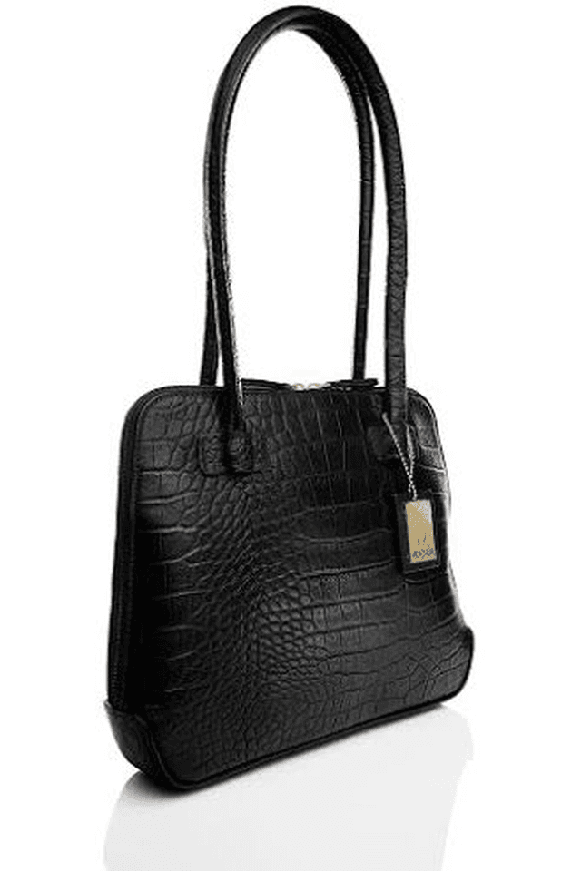 Womens Estelle Leather Zipper Closure Shoulder Bag