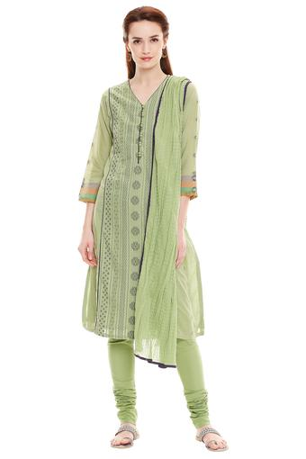 BIBA -  Green Salwar & Churidar Suits - Main