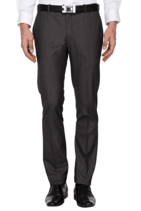 BLACKBERRYS Mens Slim Fit Solid Formal Trousers - 200889291