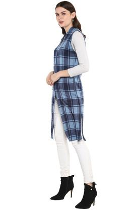 Womens V Neck Check Knitted Cardigan