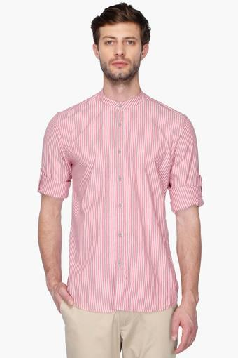 Mens Slim Fit Mandarin Collar Stripe Shirt