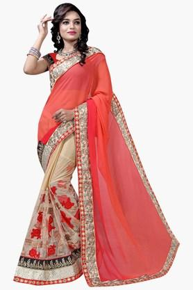 DEMARCA Womens Georgette And Net Designer Saree  ... - 202338189