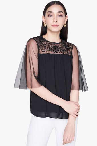Womens Round Neck Solid Embroidered Sheer Yoke Top
