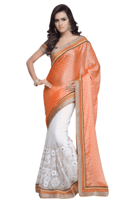 DEMARCAWomen Georgette Saree (Buy Any Demarca Product & Get A Pair Of Matching Earrings Free)