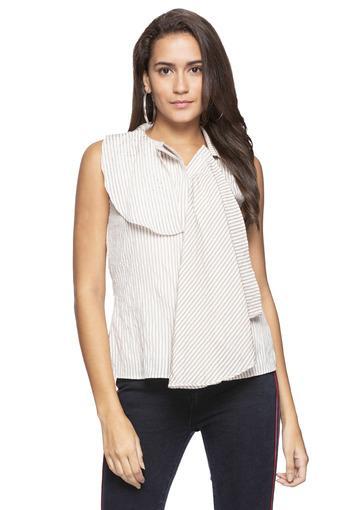 Womens Collared Stripe Layered Shirt