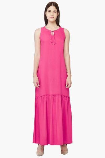 2570476aaa Buy AND Womens Tie-up Neck Solid Maxi Dress