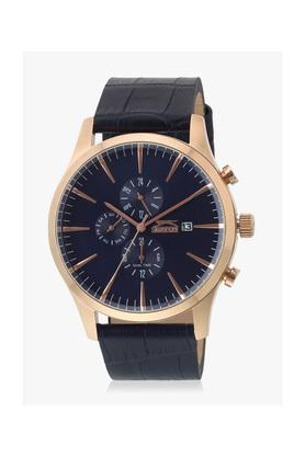 Mens Blue Dial Leather Multi-Function Watch - SL96048201