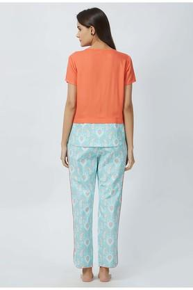 Womens Round Neck Printed Top and Pyjama Set