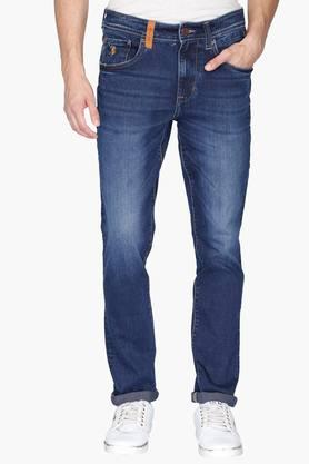 U.S. POLO ASSN. DENIM Mens 5 Pocket Slim Fit Heavy Wash Jeans (Delta Fit)