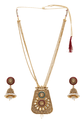 ZAVERI PEARLS Womens Gold Plated Long Necklace Set - 200929014