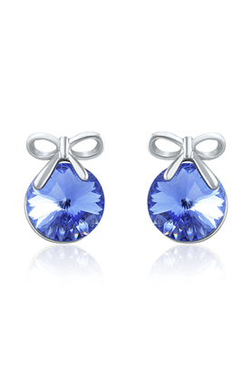MAHIMahi Made With Swarovski Elements Rhodium Plated Blue Stud Earrings For Women ER1194080RBlu