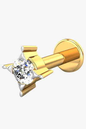 VELVETCASEWomens 18 Karat Yellow Gold Nose Ring (Free Diamond Pendant) - 201065021