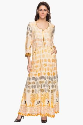 BIBA Womens Printed Casual Maxi Dress