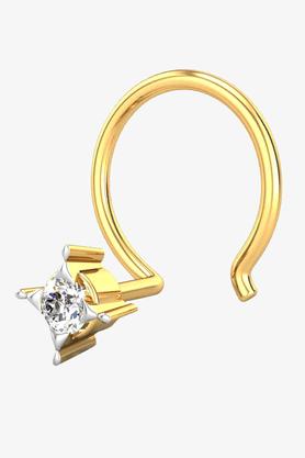 VELVETCASEWomens 18 Karat Yellow Gold Nose Ring (Free Diamond Pendant) - 201065008