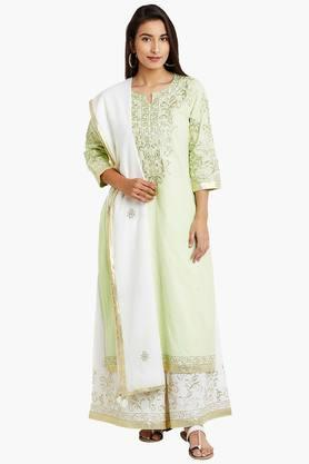 BIBA Womens Cotton Straight Suit Set - 202179841