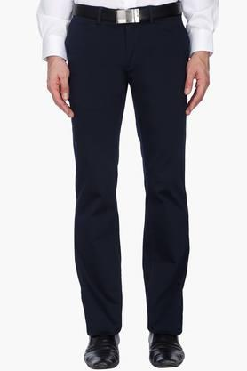 INDIAN TERRAIN Mens Regular Fit Solid Formal Trousers