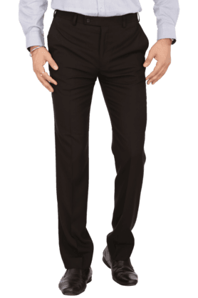 PARK AVENUEMens Flat Front Slim Fit Solid Formal Trousers