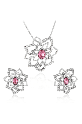 MAHI Mahi Rhodium Plated Pink Rose Flower Pendant Set Made With Swarovski Elements For Women NL1104127RPin