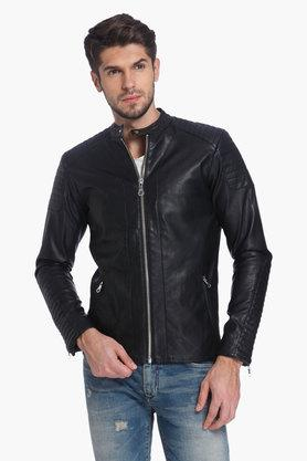 JACK AND JONES Mens Band Collar Solid Jacket