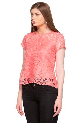 Womens Round Neck Lace Layered Top