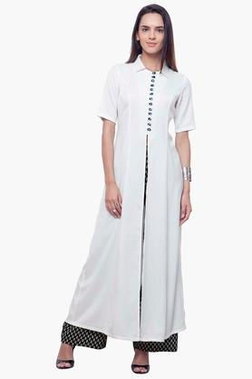 INDYA Womens Front Slit Collared Tunic