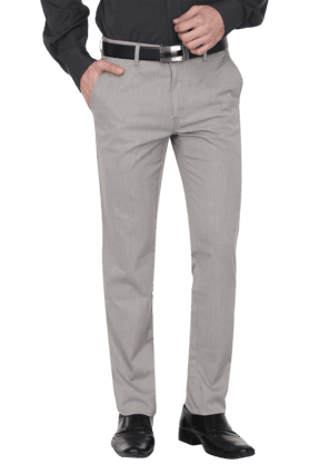 Mens 4 Pocket Flat Front Slim Fit Check Formal Trouser