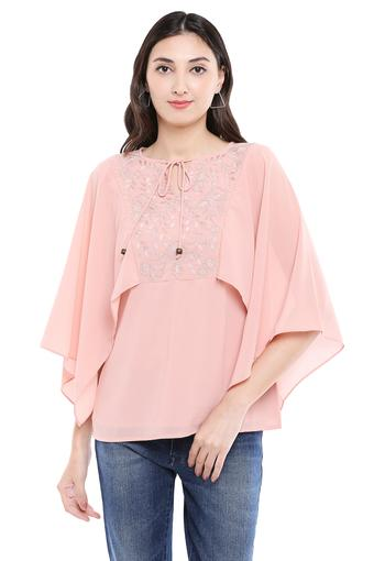 Womens Tie Up Neck Embellished Top