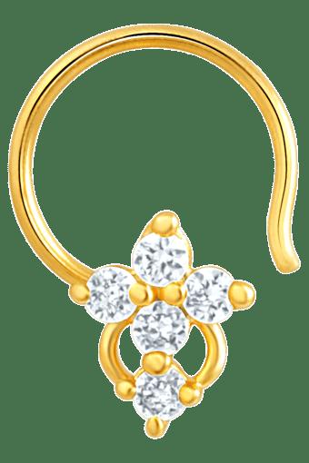Buy Mahi Mahi Gold Plated Symbolic Shine Nose Pin With Cz Stones