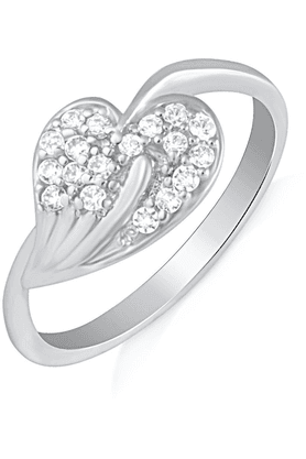 MAHI Mahi Rhodium Plated Yearning Love Finger Ring With CZ For Women FR1100622R