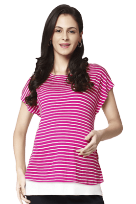 NINE MATERNITY Stripes Nursing Tee