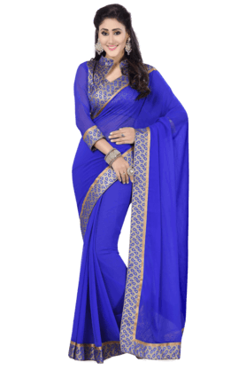 DEMARCA Womens Faux Chiffon Saree (Buy Any Demarca Product & Get A Pair Of Matching Earrings Free) - 200946946